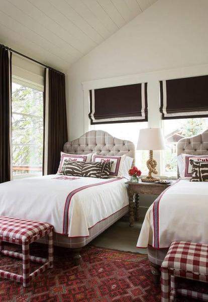 gray and pink twin girl bedroom ideas Pink and Brown Girls Bedroom with Gray Tufted Beds