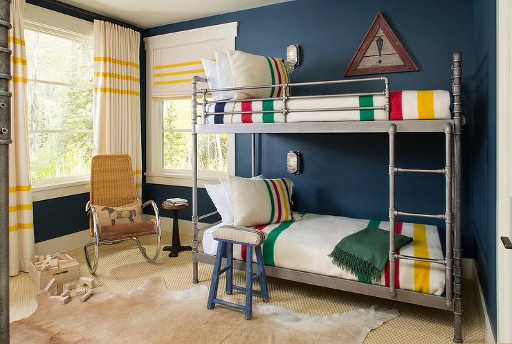 Industrial Steel Pipe Bunk Beds with Colorful Striped Bedding  Contemporary  Boys Room