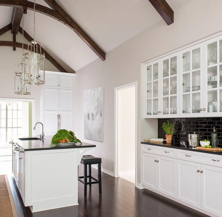 rugs for hardwood floors in kitchen banquettes black and white with glass front china cabinets ...