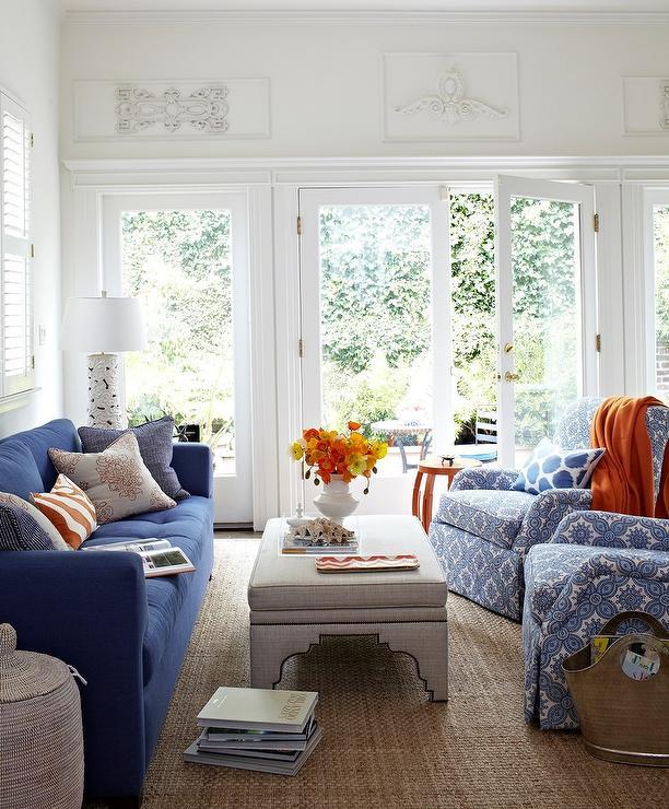 Gray Sofa with Orange Pillows  Contemporary  Living Room