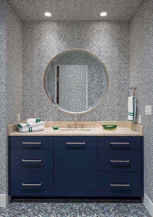 Blue Kids Bathroom with Blue China Seas Java Java Wallpaper  Contemporary  Bathroom