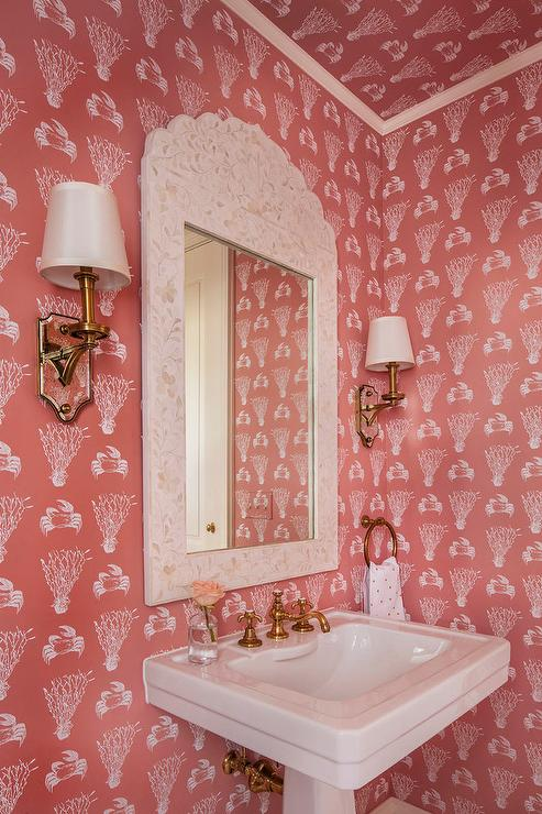 Coral Pink Powder Room with Cream Bone Inlay Mirror  Cottage  Bathroom