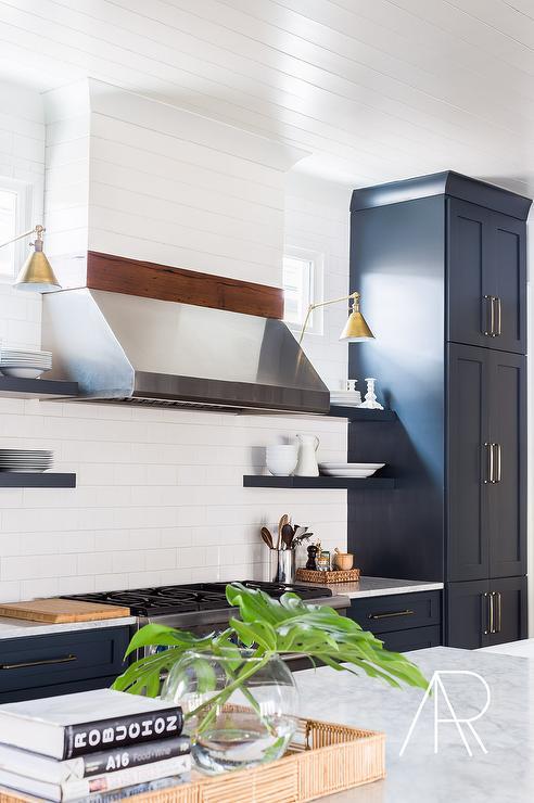 White Kitchen Cabinets with Aged Brass Hardware