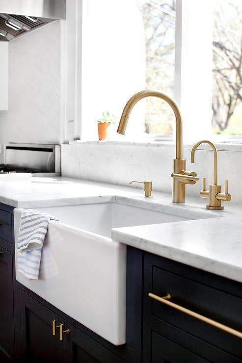high arc kitchen faucet nantucket polar white cabinets antique brass vintage with farm sink ...