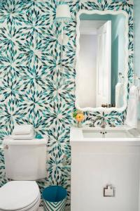 White and Blue Powder Room with Turquoise Mosaic Wall ...