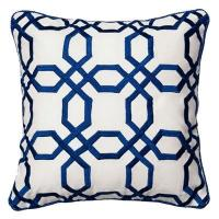 Blue and White Octagons Throw Pillow
