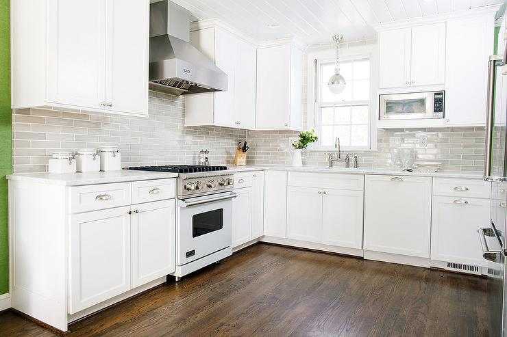 White and Gray KItchen with Light Blue Viking Stove