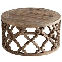 Brown Wooden Carved Geometric Coffee Table