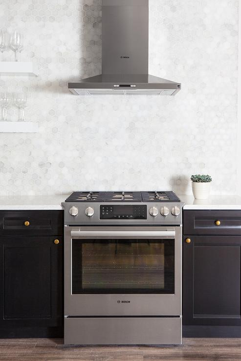 stainless steel kitchen cabinets unfinished cart black with white marble hexagon ...