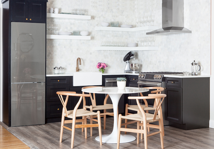 high kitchen table with storage dornbracht faucets small black and white marble saarinen dining ...