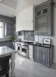 White Kitchen Hood with Dark Gray Mosaic Cooktop ...