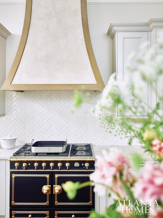 White and Gold French Kitchen Hood with Black and Gold
