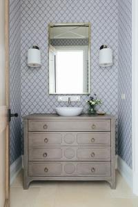 Blue and Gray Powder Room with Arabesque Scalloped ...
