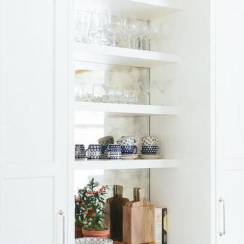 kitchen mirrors replace cabinets mirrored design ideas antiqued backsplash on back of shelves