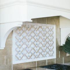 Kitchen Backsplash Gallery Tile White And Gray Mosaic Cooktop Tiles With Wolf Stove ...
