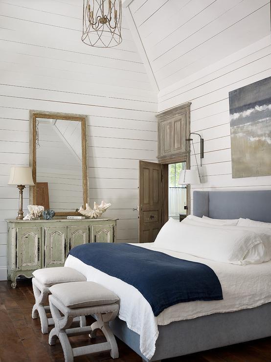 Blue Velvet Wingback Bed with  Cottage  Bedroom