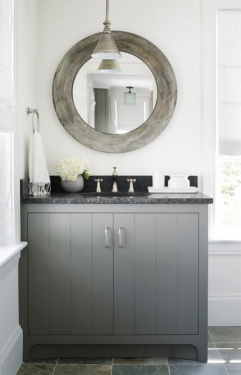 Charcoal Gray Bath Vanity with Black Marble Countertop
