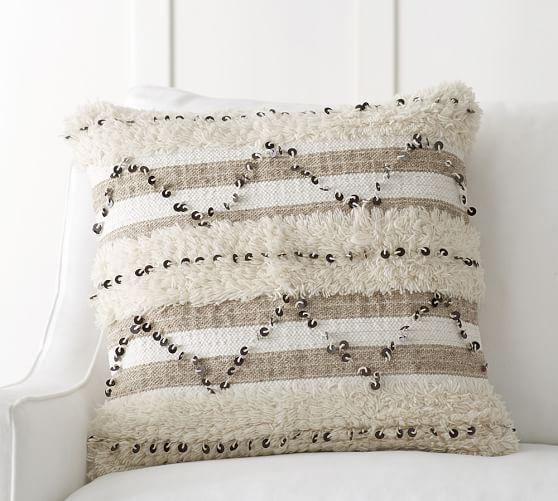 Beige Sequin Moroccan Pillow Cover