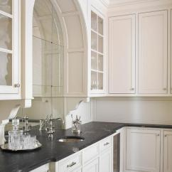Single Hole Kitchen Faucet Bath And Glam Wet Bar With Arched Antiqued Mirrored Backsplash ...