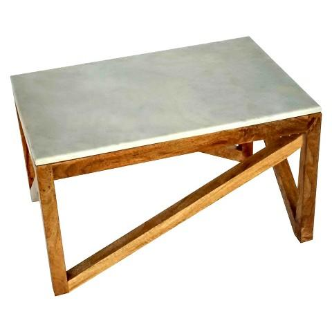 Wood and White Marble Coffee Table