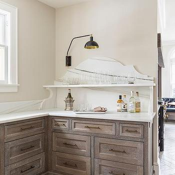 Limed Oak Cabinets With Aged Brass Pulls Design Ideas