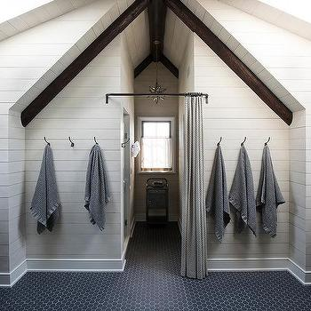 Shiplap Vaulted Bathroom Ceiling With Rustic Wood Beams Transitional Bathroom
