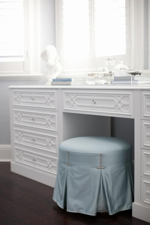 Round Blue Skirted Vanity Stool with Makeup Table Below Bay Windows  Transitional  Bedroom