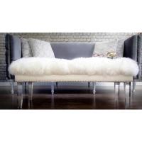 White Sheepskin Lucite Legs Bench