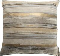 Gold and Silver Metallic Striped Cowhide Pillow