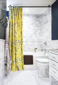 White and Blue Bathroom with Yellow Shower Curtain ...