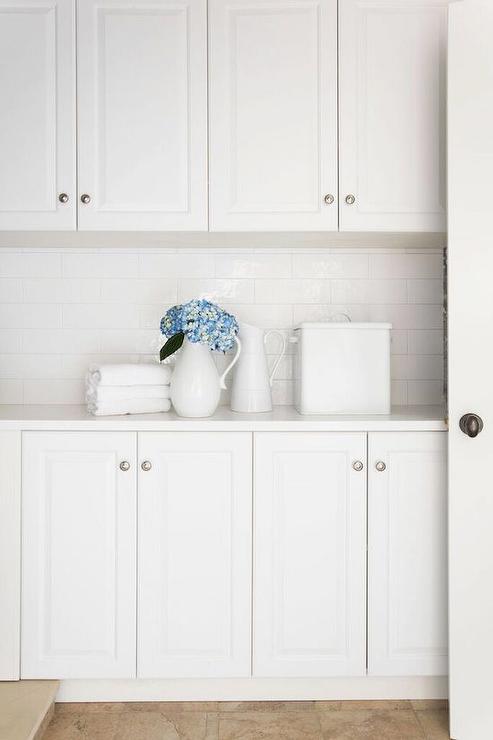 Linear Marble Tile Backsplash Traditional Laundry Room