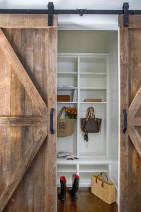 Long Mudroom with Gray Barn Doors - Cottage - Laundry Room