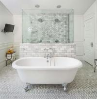 Walk In Shower with 2 Doors and Marble Chevron Tiles