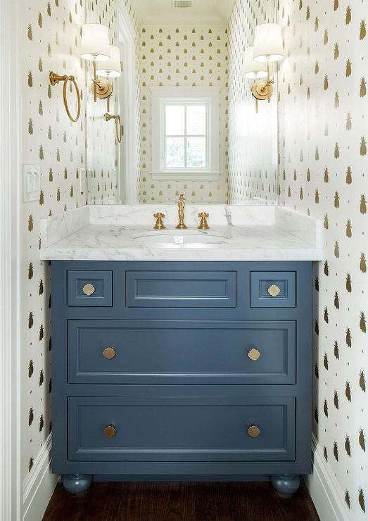 Blue and Gold Powder Room with Gold Bumblebee Wallpaper
