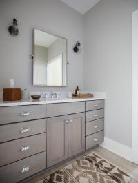 Gray Shaker Bath Vanity with Brown Kilim Bath Mat ...