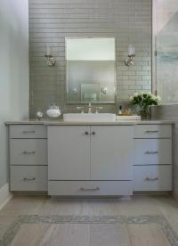Light Blue Washstand with Gray Glass Backsplash Tiles ...