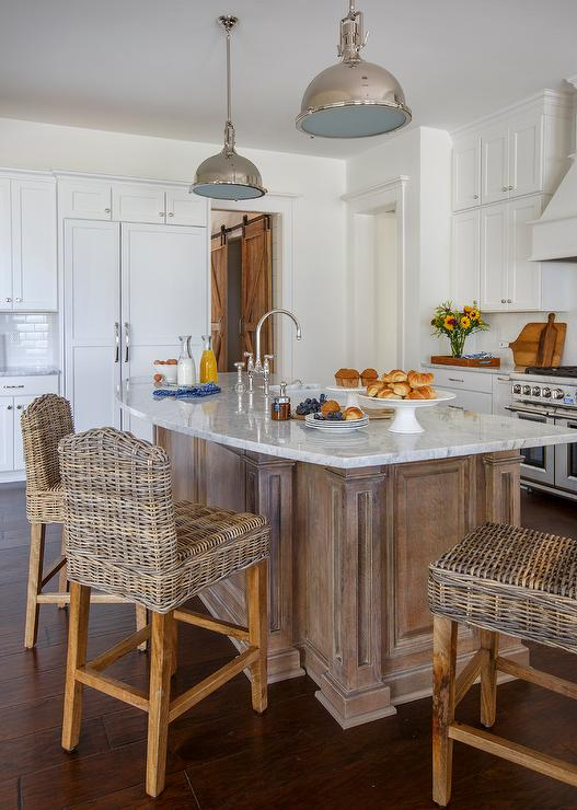 white kitchen island with stools summer ideas curved countertop wicker counter ...