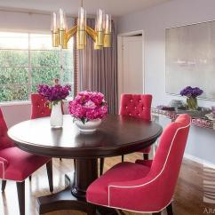 Pink Dining Room Chairs Upholstered Counter Height Hot Tufted And Lucite Brass Chandelier