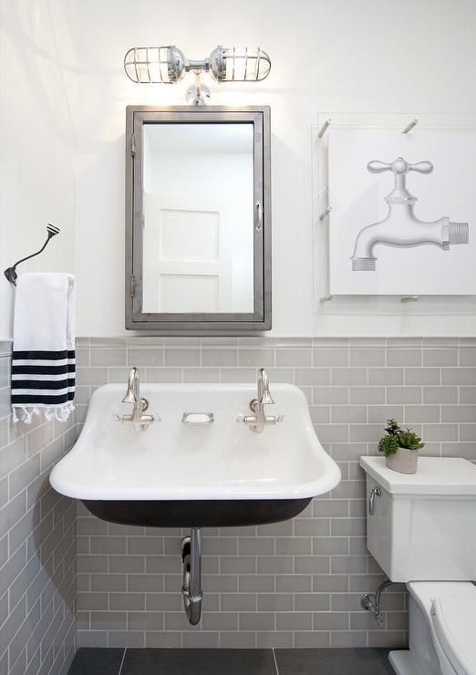 Gray and Black Kids Bathroom with Pharmacy Wall Mount