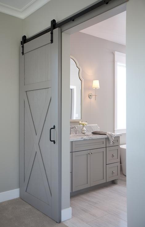 En Suite Bathroom with Barn Door on Rails  Transitional