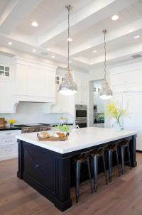 Black Center Island with Gray Wash Wood Floors ...