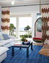 White and Blue living Room with Rope Hanging Chair ...