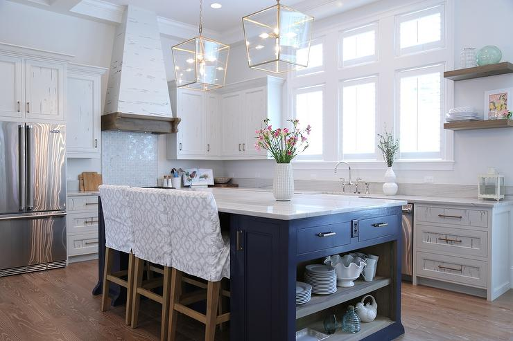 Navy Blue Kitchen Island With Open Shelves Cottage Kitchen