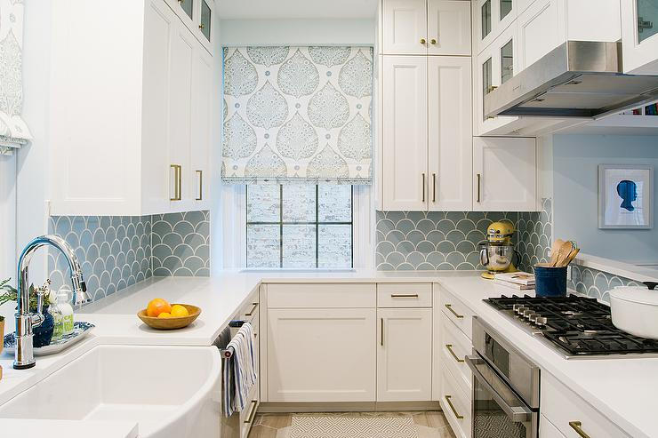 White and Blue Kitchen with Blue Fish Scale Tile Backsplash  Contemporary  Kitchen