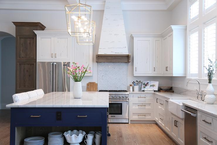 White Kitchen Cabinets With Light Gray Island White And Navy Blue Kitchen With White Pecky Cypress Range