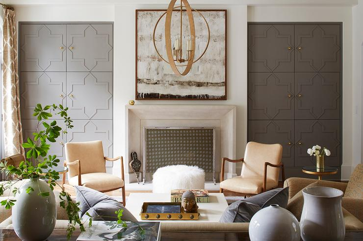 light gray accent chairs big and tall executive office wall of living room doors dressed in gold lattice curtains - transitional