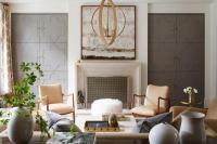Wall of Gray Living Room Doors Dressed in Gold Lattice ...