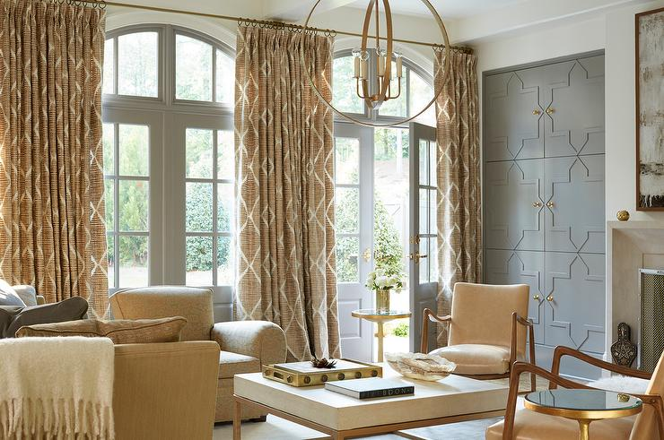 Perfect Wall Of Gray Living Room Doors Dressed In Gold Lattice Curtains
