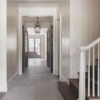 White Walls with Gray Interior Doors - Cottage - Entrance ...