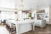 Two KItchen Islands Unified with Brass Lanterns ...